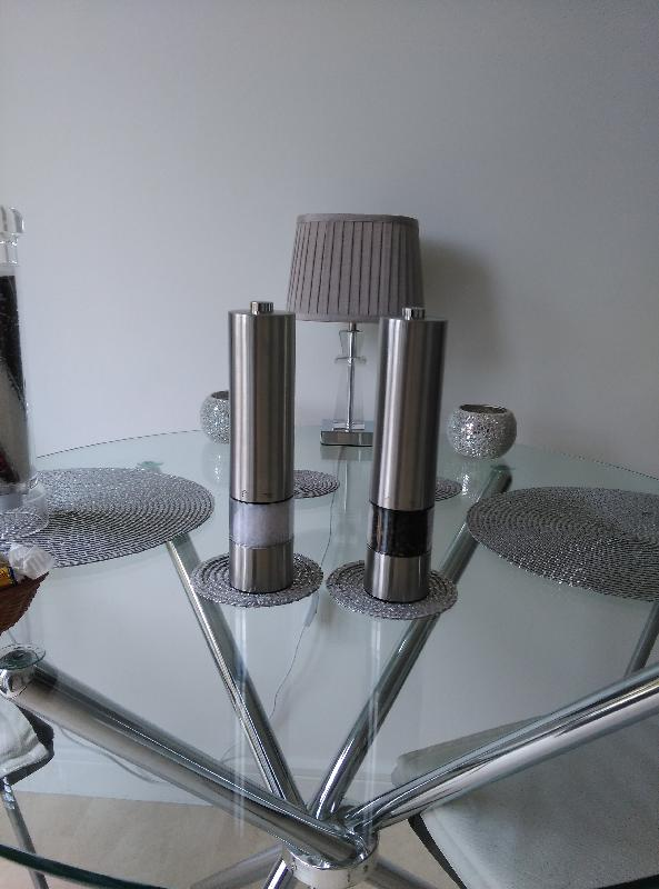 Savisto Electronic Illuminated Salt and Pepper Mill Grinders in Silver