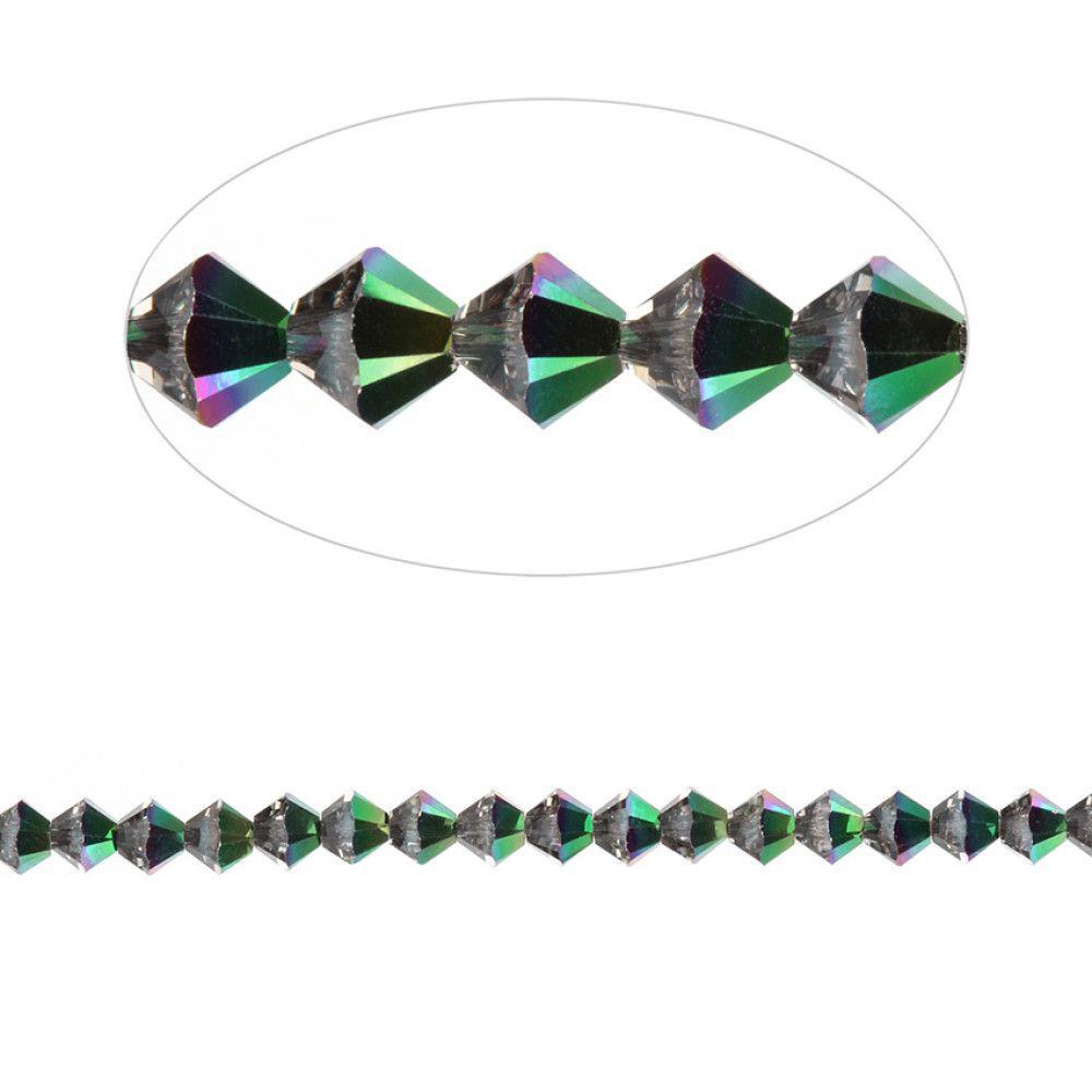 5328 Swarovski Crystal Bicones 3mm Crystal Scarabaeus Green Pk24