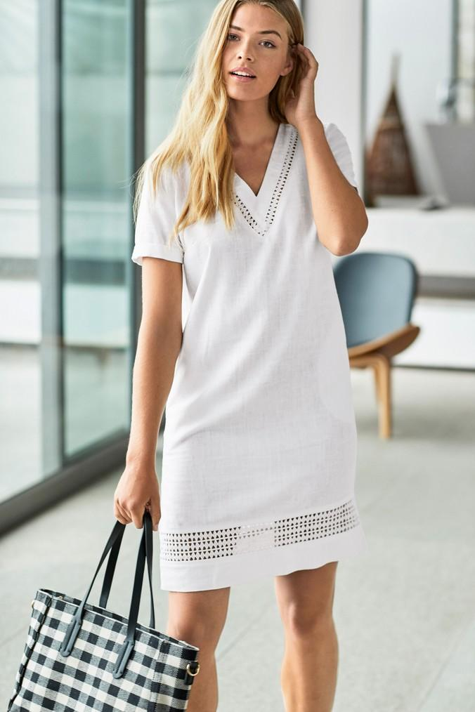24ea89f6d77 Womens Next White Linen Blend T-Shirt Dress - White