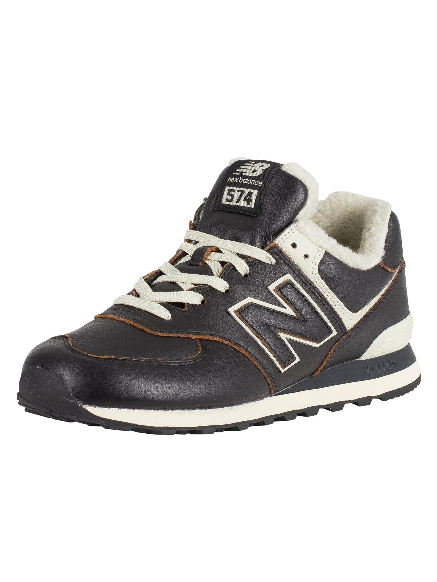 Brown New Balance Men/'s 574 Leather Trainers