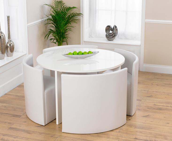 Outstanding Oslo 120Cm White High Gloss Stowaway Dining Table And Ivory Home Interior And Landscaping Ologienasavecom