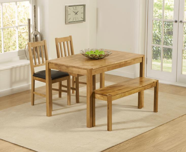 Oxford 120cm Solid Oak Dining Table With Benches And Oxford Chairs