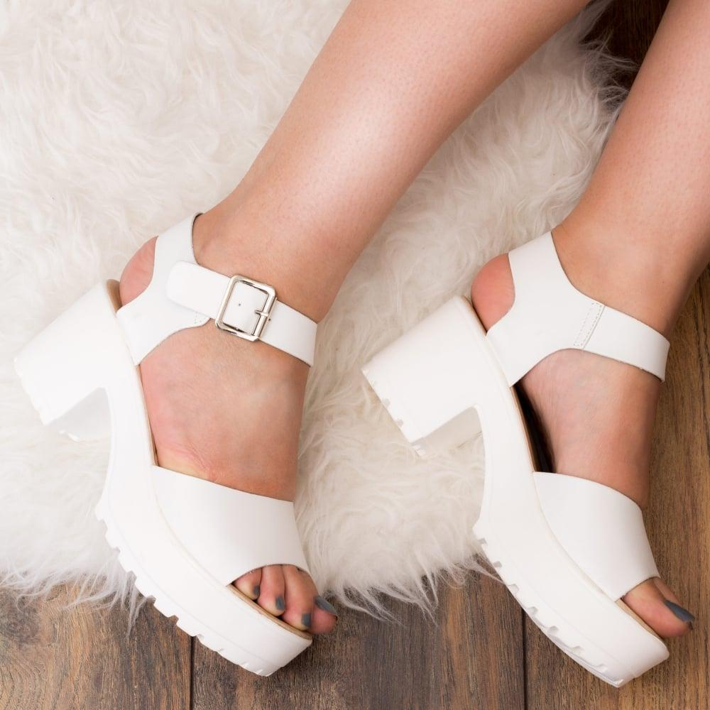 c94a7474d2bf AKIRA Chunky Platform Block Heel Sandals Shoes - White Leather Style ...