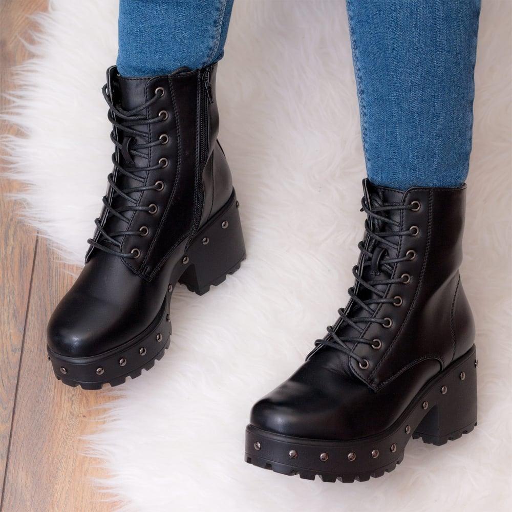 67a845c17771 SPYZZ Studded Lace Up Block Heel Platform Ankle Boots Shoes - Black ...