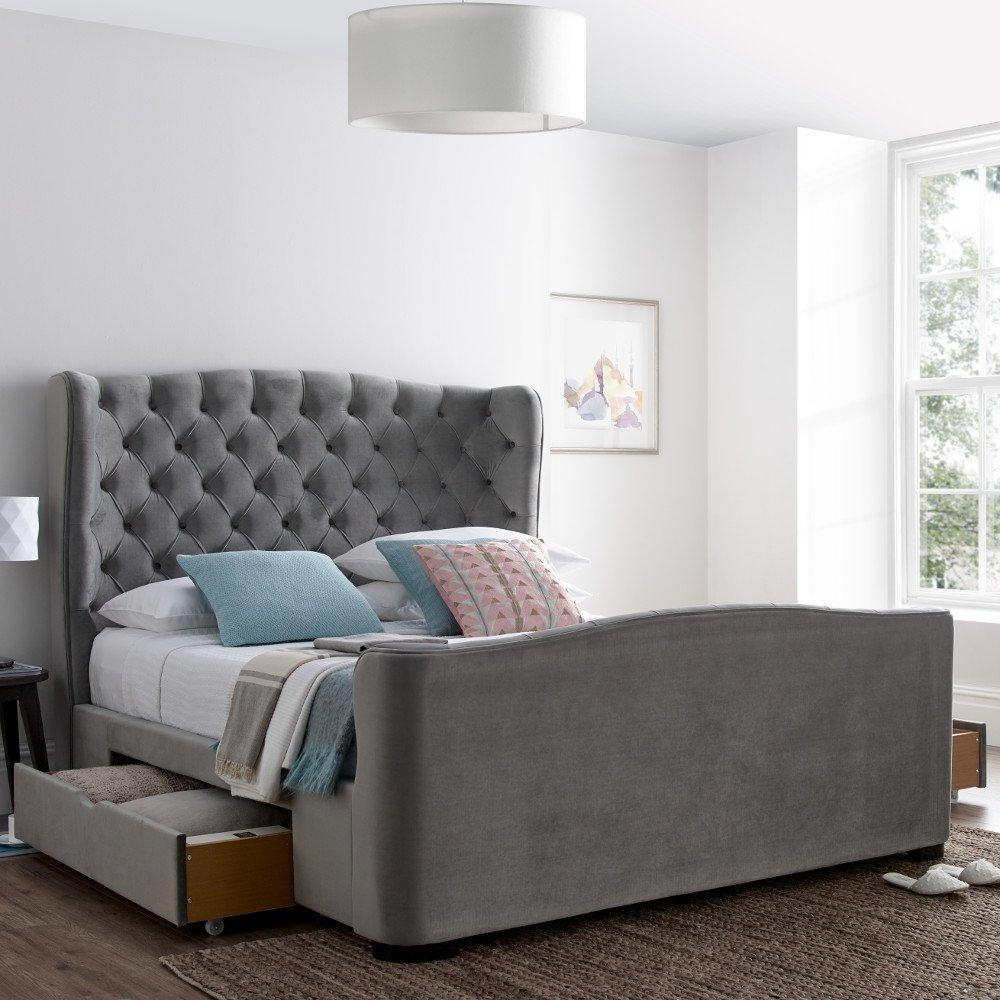 4FT6 DOUBLE 5FT KINGSIZE 6FT SUPERKING GREY FABRIC 4 DRAWER STORAGE BED MATTRESS