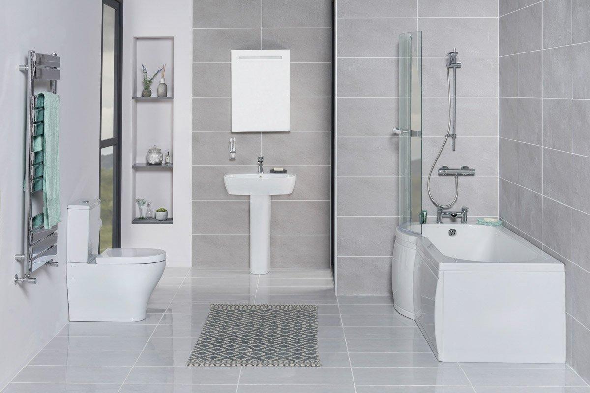 Cordoba Bathroom Suite with Left Hand P Shape Shower Bath Reviews ...