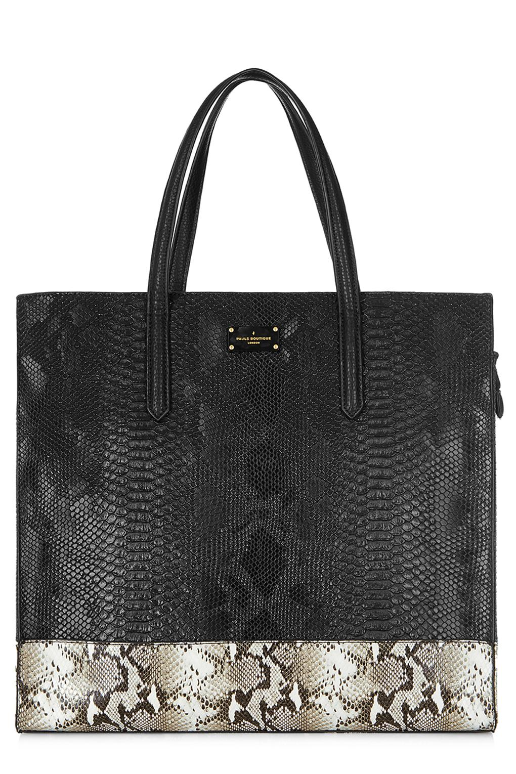 Black Tote Bag Maxwell Grey Snake Print